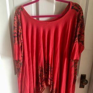 Free People red short sleeve bohemian shirt